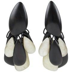 Monies Oversized Dangle Clip Earrings Ebony Wood and Pearlized Resin