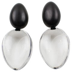 Monies Oversized Dangling Clip Earrings Lucite and Ebony