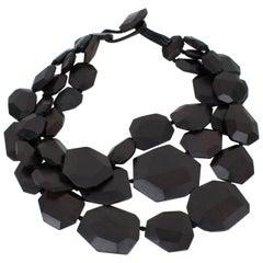 Monies Oversized Layered Ebony Wood Necklace
