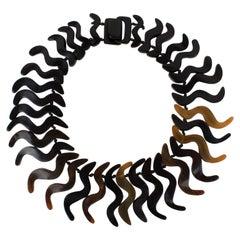 Monies Oversized Natural Horn Bib Choker Necklace