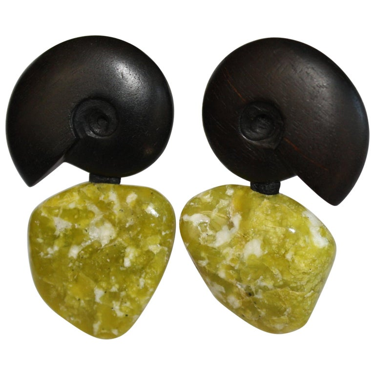 Monies Peruvian Jade and Ebony One of a Kind Clip Earrings For Sale