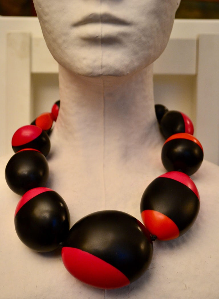 Monies Pink, Orange and Black Polyester Necklace For Sale 1