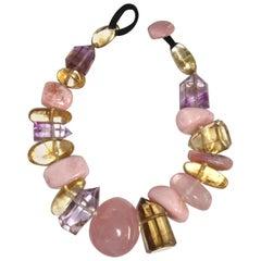 Monies Rose Quartz, Amethyst, Citrine, ande Opal Necklace