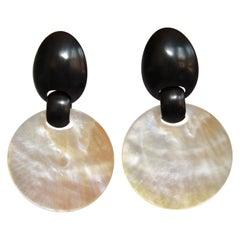 Monies Shell and Ebony Wood Clip Earrings