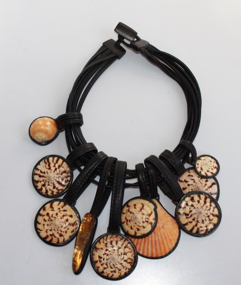 Women's Monies Shell and Semi Precious Statement Necklace