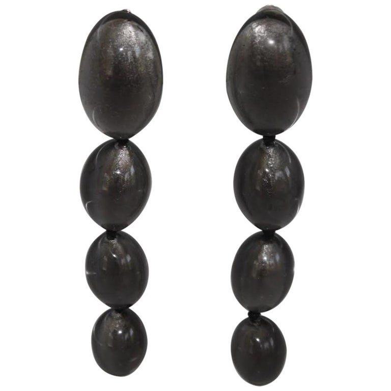 Monies Silver Leaf in Polyester Drop Clip Earrings For Sale