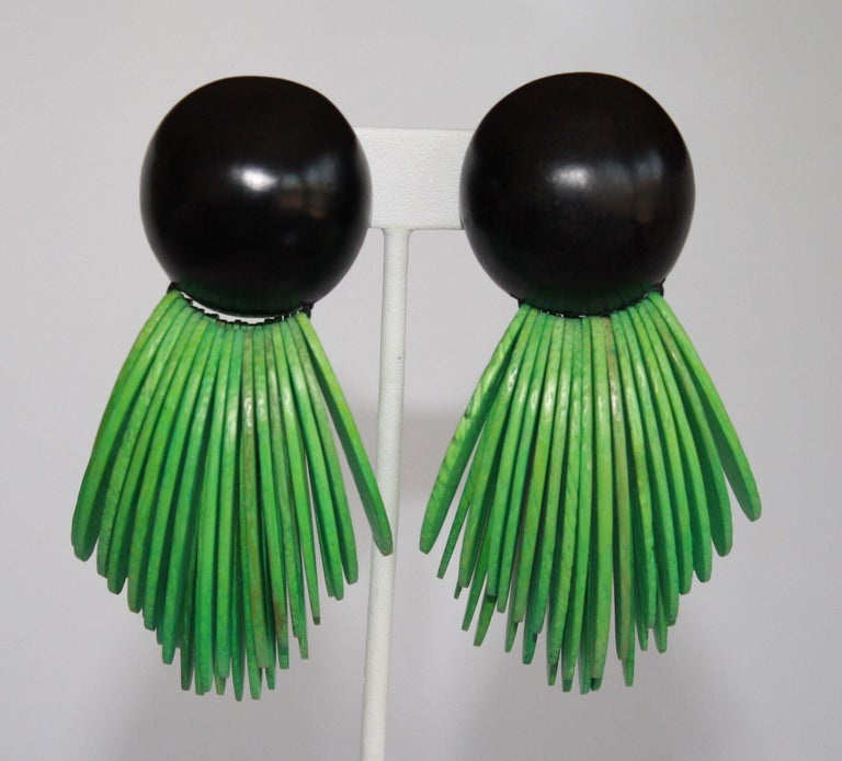 Monies Two Tone Wood Clip Earrings For Sale 2