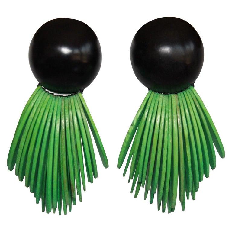 Monies Two Tone Wood Clip Earrings For Sale