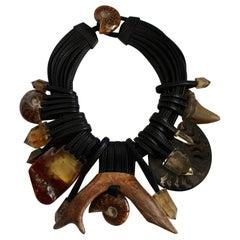 Monies Unique Amber, Ammonite, Antler Fossil, Citrine, Shark Tooth Choker