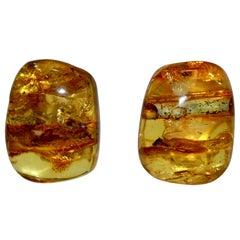 Monies Unique Amber Clip Earrings