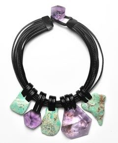 Monies Unique Amethyst and Chrysoprase Leather Choker