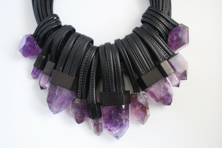 Monies Unique Amethyst and Leather Choker 3