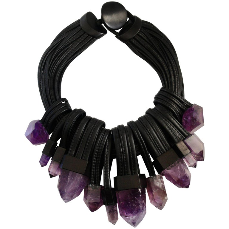 Monies Unique Amethyst and Leather Choker