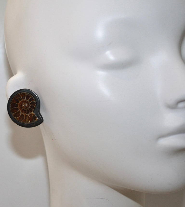 Modern Monies Unique Ammonite and Ebony Clip Earrings For Sale