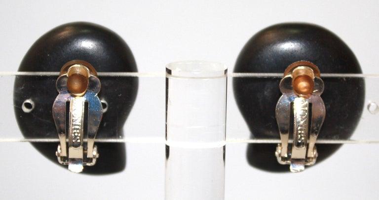 Monies Unique Ammonite and Ebony Clip Earrings In New Condition For Sale In Virginia Beach, VA