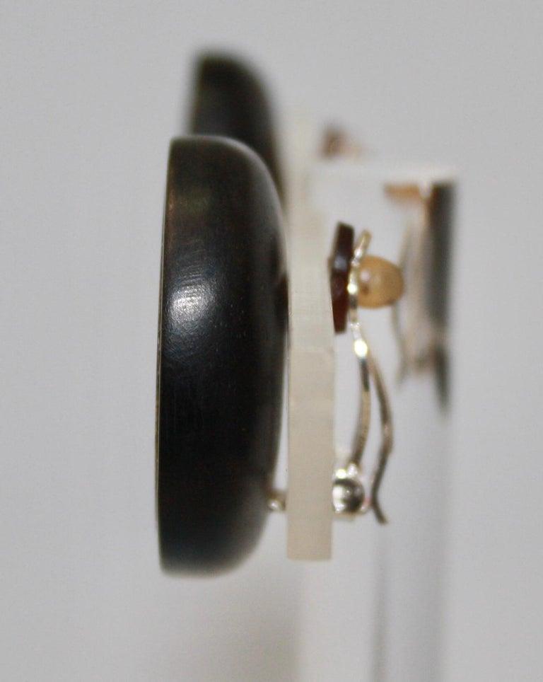 Women's or Men's Monies Unique Ammonite and Ebony Clip Earrings For Sale