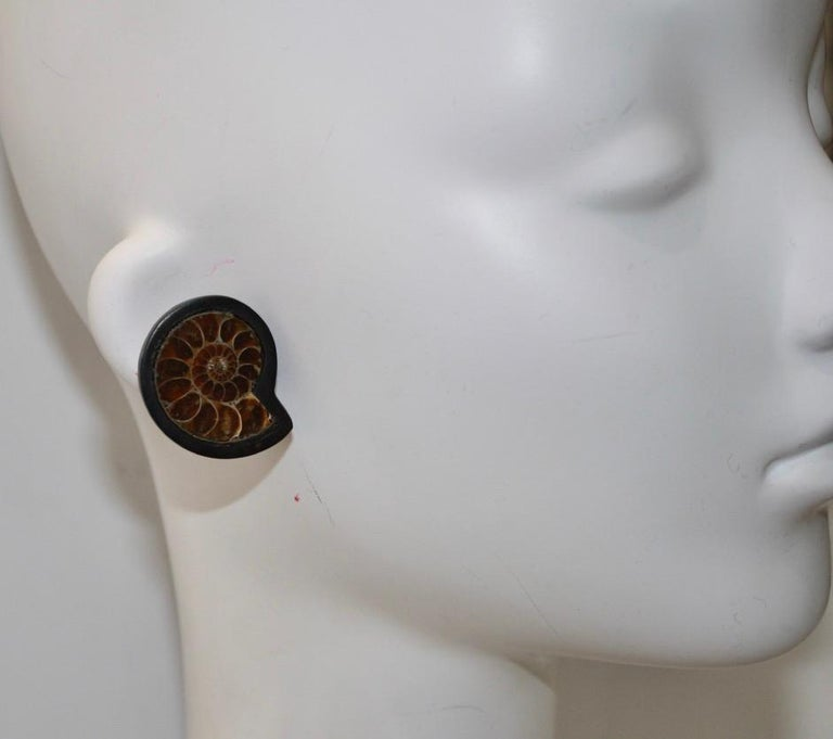 Monies Unique Ammonite and Ebony Clip Earrings For Sale 1