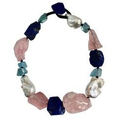 Monies Unique Baroque Pearls, Lapis Lazuli, Pink Quartz and Blue Topaze