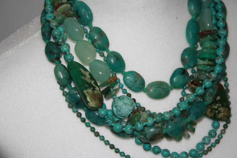 Modern Monies Unique Chrysoprase, Jade, Chrysocolla Choker For Sale