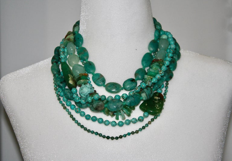 Monies Unique Chrysoprase, Jade, Chrysocolla Choker In New Condition For Sale In Virginia Beach, VA