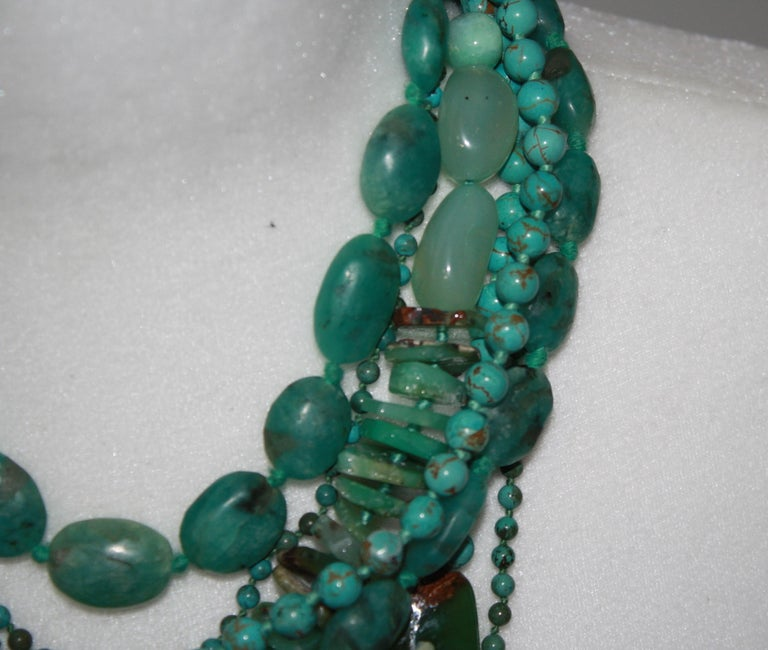 Monies Unique Chrysoprase, Jade, Chrysocolla Choker For Sale 2