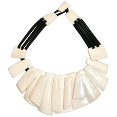 Monies White Bone and Leather Choker