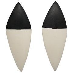 Monies Wood and Bone Clip Earrings