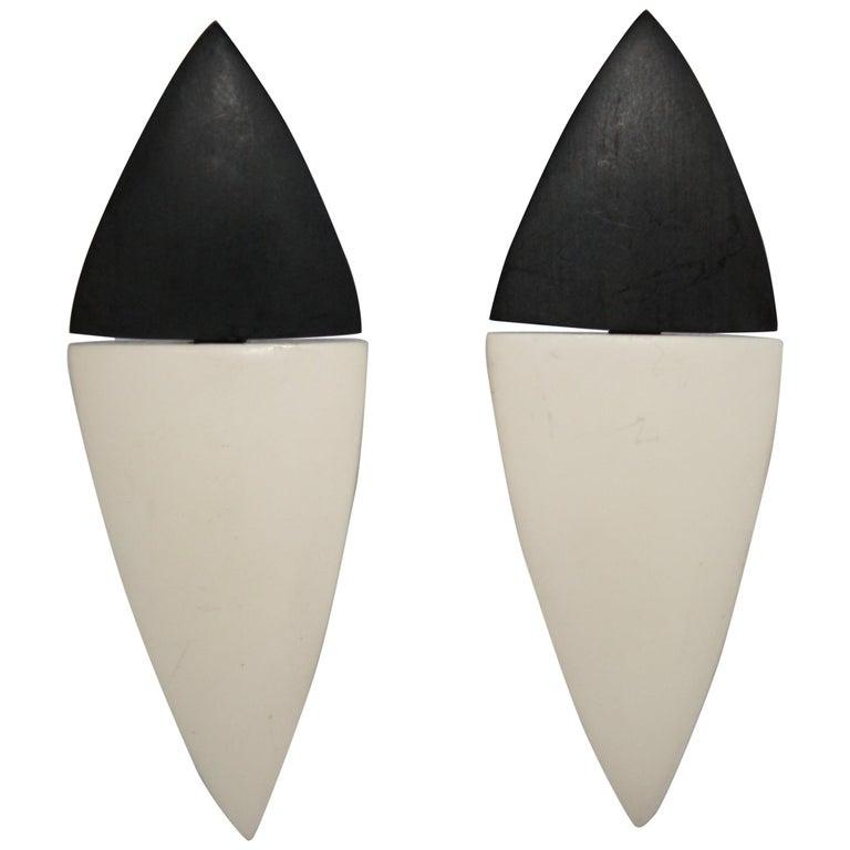 Monies Wood and Bone Clip Earrings For Sale