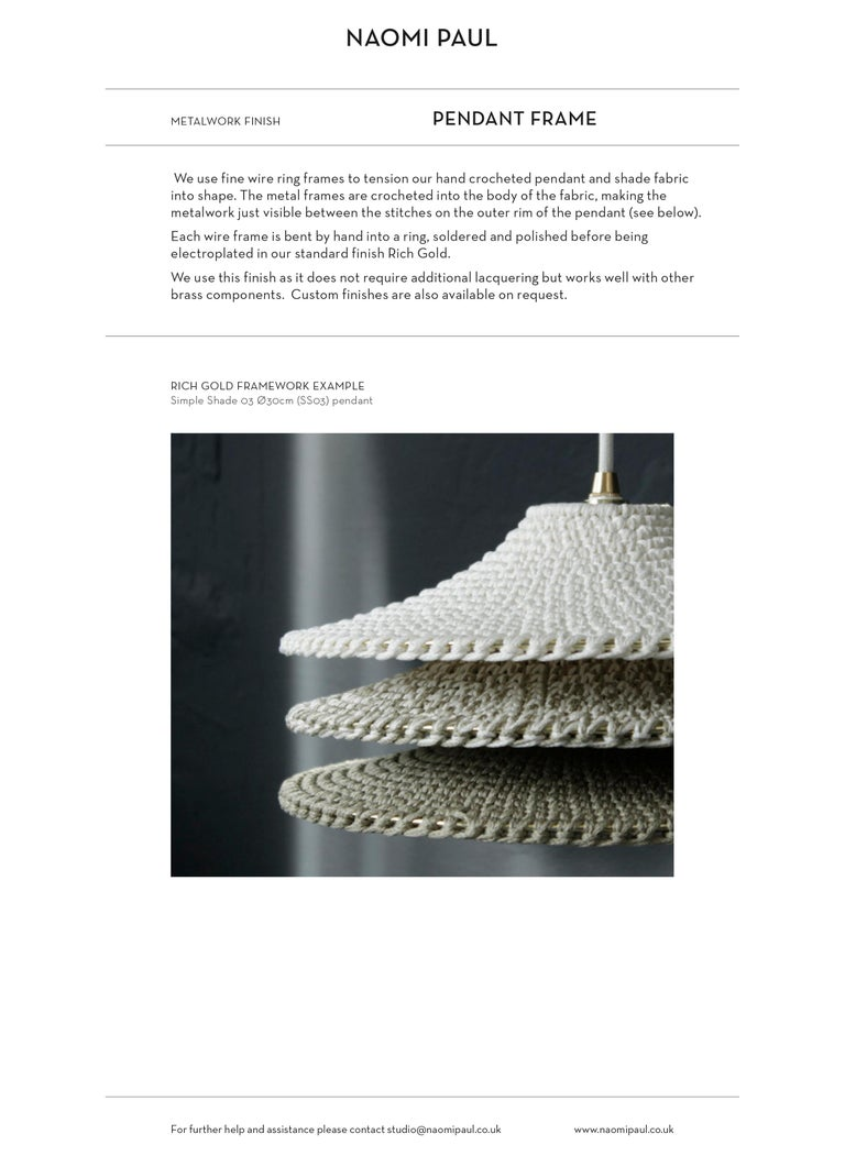 Monika Ø80cm / 31.5in. Pendant Light, Hand Crocheted in 100% Egyptian Cotton For Sale 1