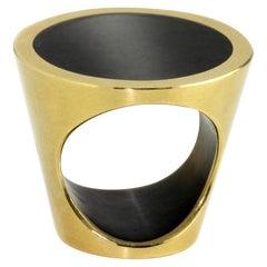 Monika Jakubec 18 Karat Yellow Gold Anthracite Resin Cone Ring