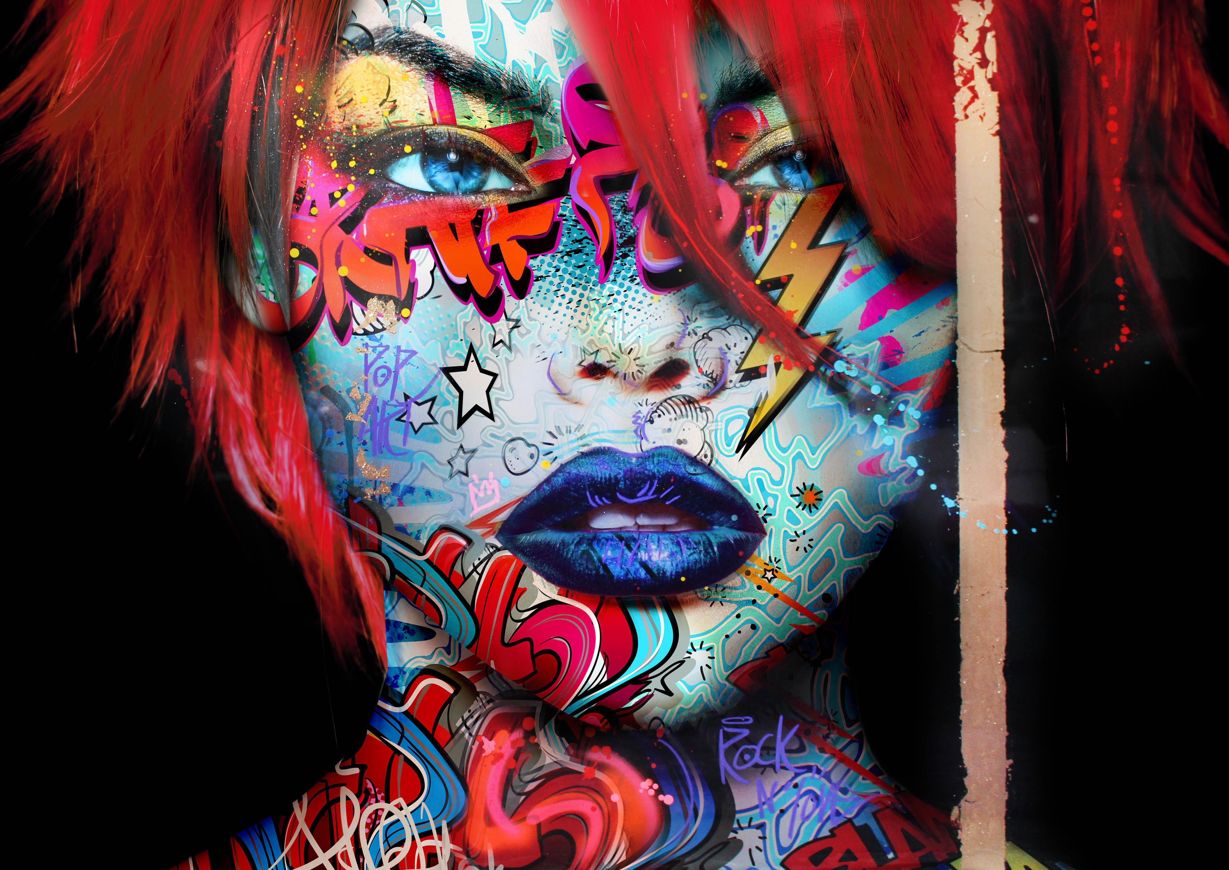 """Red Carmilla"" -- Pop art, pop culture, feminism, woman power, woman empowerment"