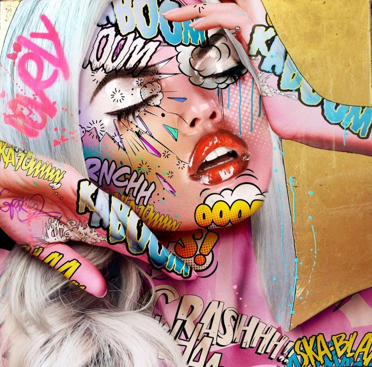 "Monika Nowak Portrait Painting - ""Ruby Woo"" -- Pop art, pop culture, feminism, woman power, woman empowerment"