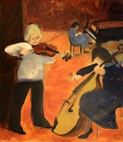 A concert - Contemporary Figurative Oil Painting, Warm tones, Monochromatic