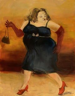 A lady - Contemporary Figurative Oil Painting, Warm tones, Monochromatic