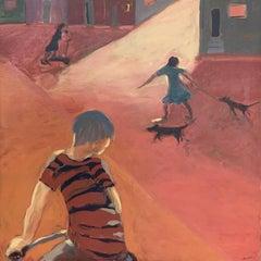 Children - Contemporary Figurative Oil Painting, Warm tones, Monochromatic