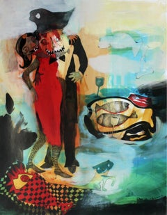 Fish dinner - XXI century, Mixed media print, Bright colours, Fantasy
