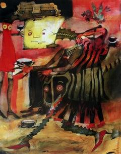 Tea time - XXI century, Mixed media print, Bright colours, Fantasy, Abstraction