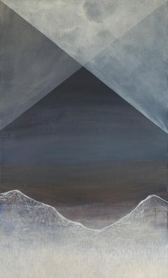 Untitled - Contemporary Figurative Painting, Geometric Mountains Landscape