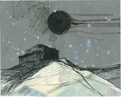 Untitled - Contemporary Landscape Painting, House On The Hill