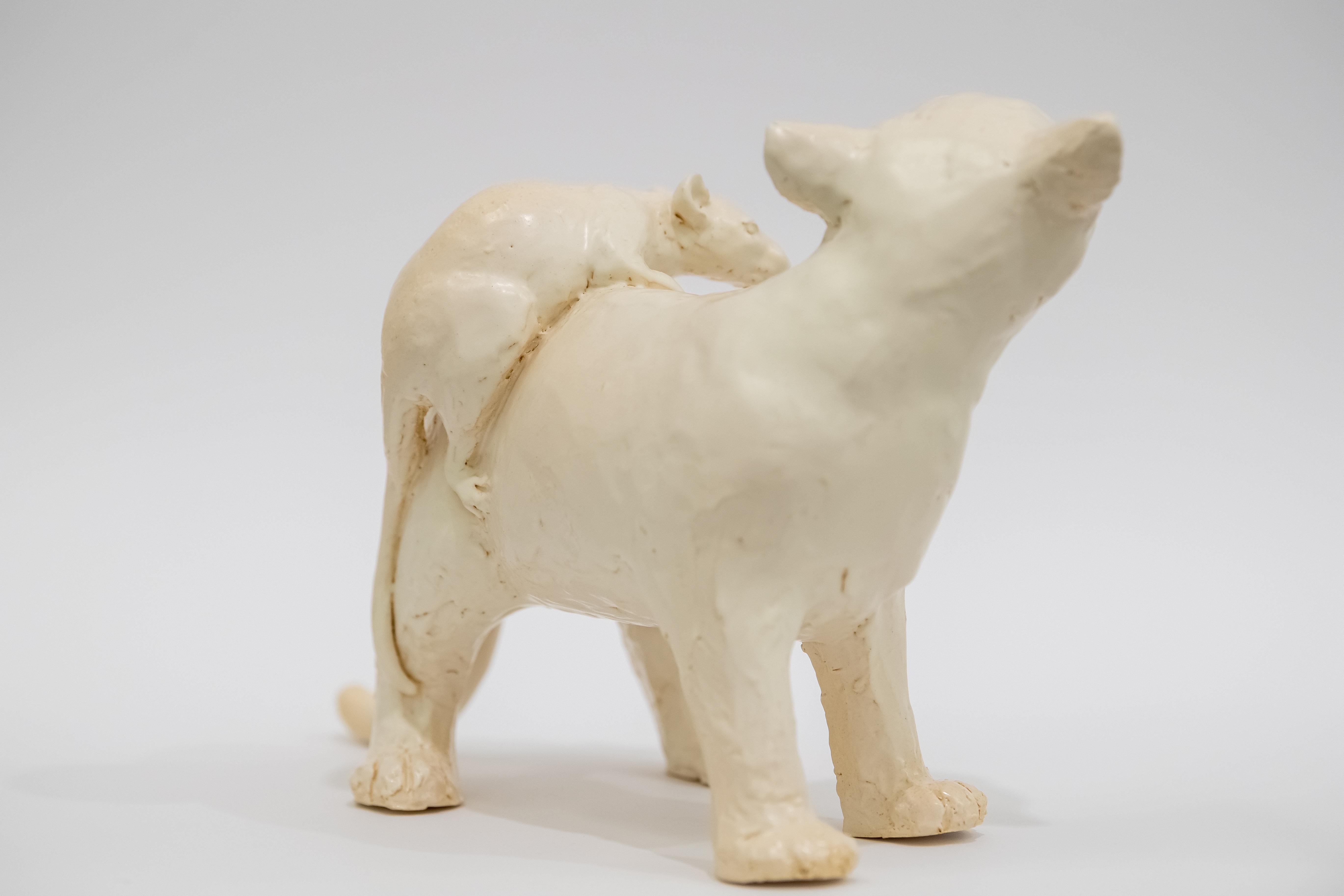 Rat On A Cat - Unique Handmade Glazed Ceramics Sculpture, Animals Portrait