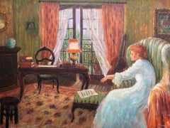 Receiving Letter; Monique Baudaux; Late 20th; oil on canvas;