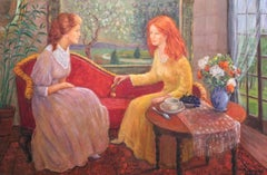 Girls Talk; Monique Baudaux; Late 20th; oil on linen;