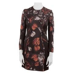 Monique Lhuillier Black Abstract Print Silk Blend Long Sleeve Sheath Dress S