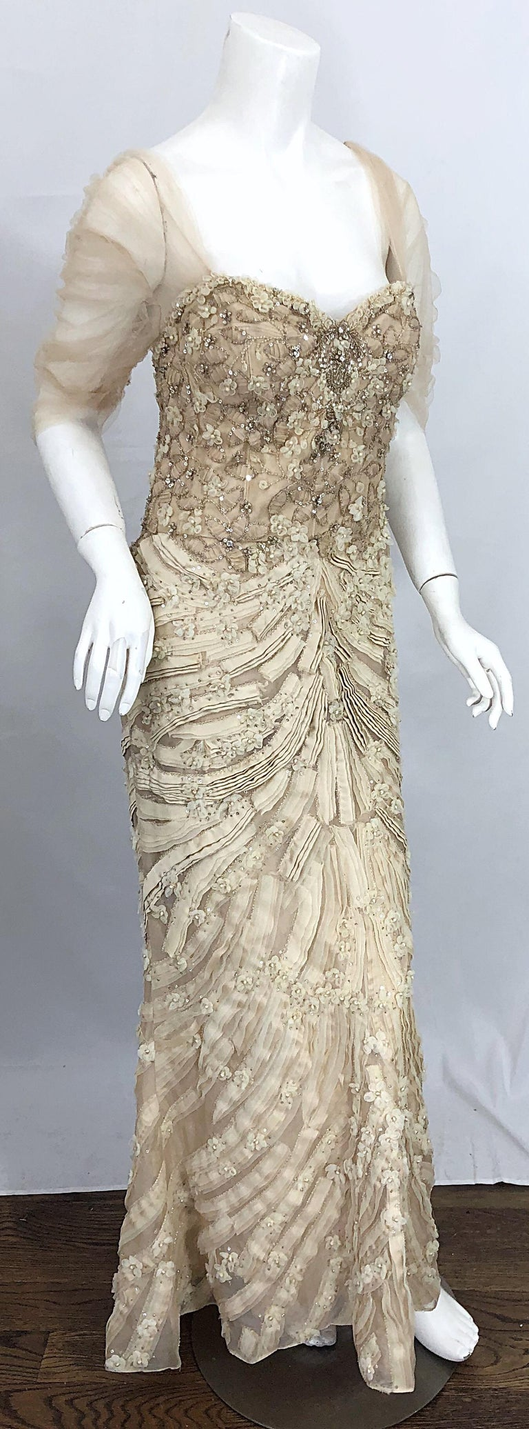 Monique Lhuillier Couture Size 10 / 12 Beige Rhinestone Beaded $12,000 Silk Gown For Sale 6