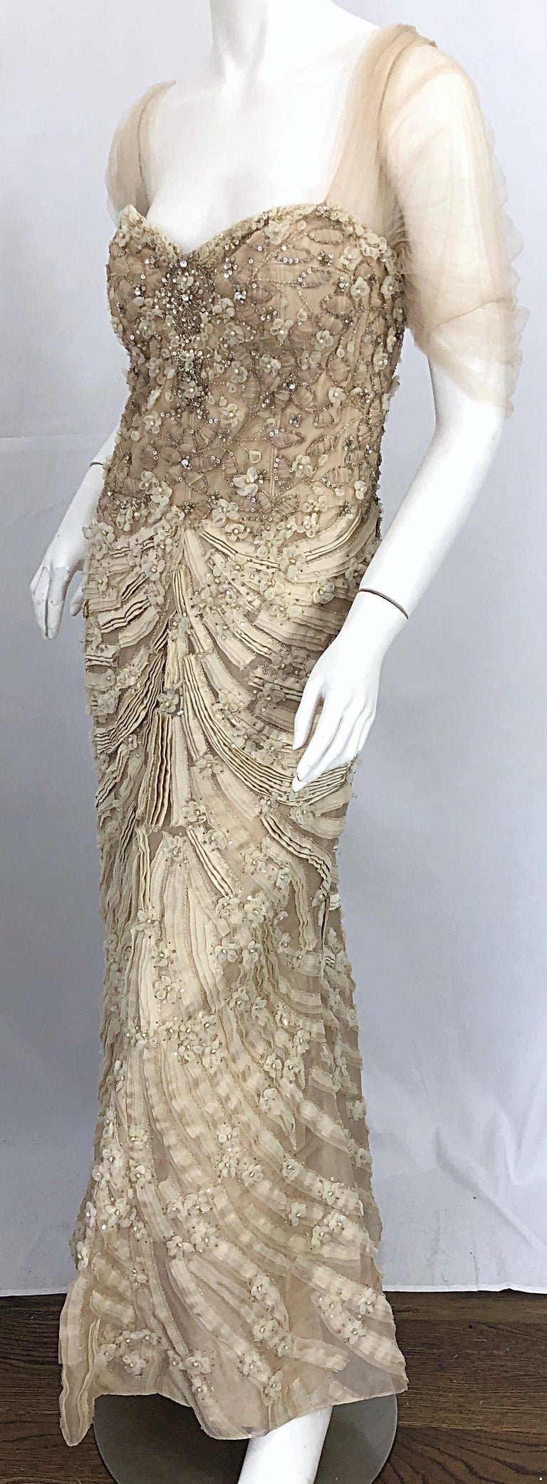Monique Lhuillier Couture Size 10 / 12 Beige Rhinestone Beaded $12,000 Silk Gown For Sale 7