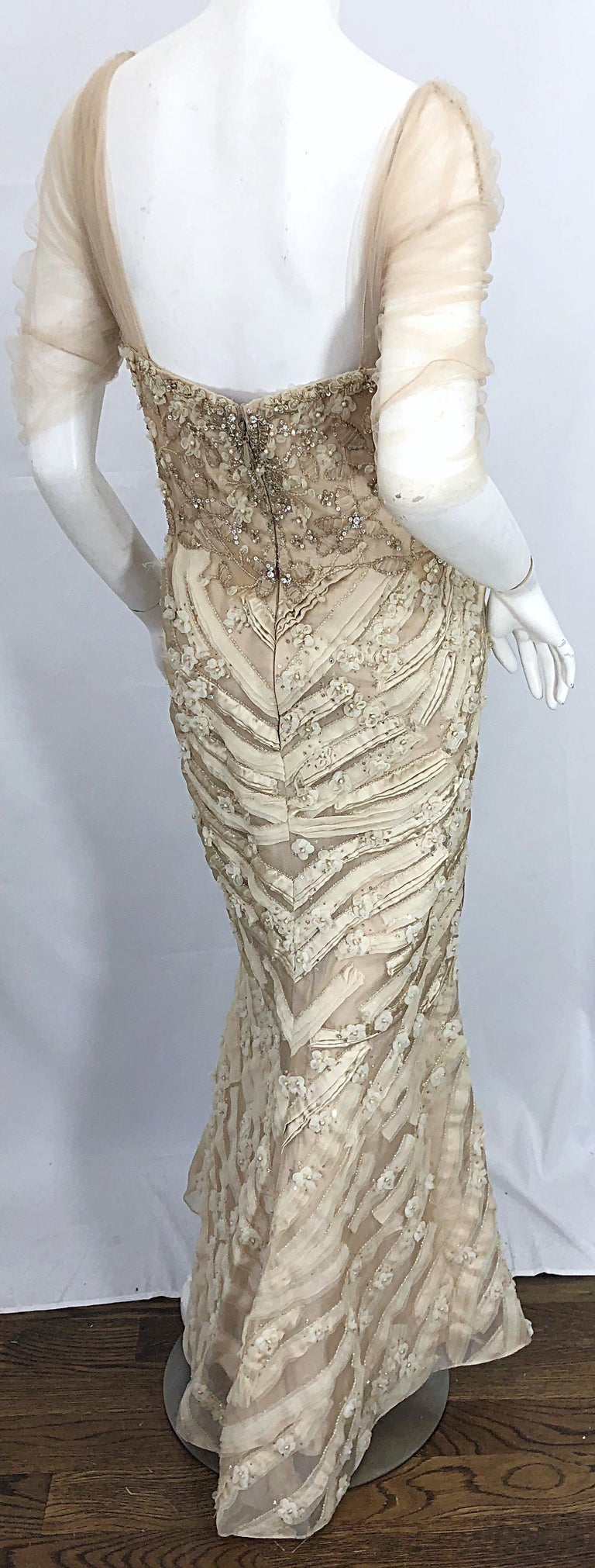 Monique Lhuillier Couture Size 10 / 12 Beige Rhinestone Beaded $12,000 Silk Gown For Sale 8