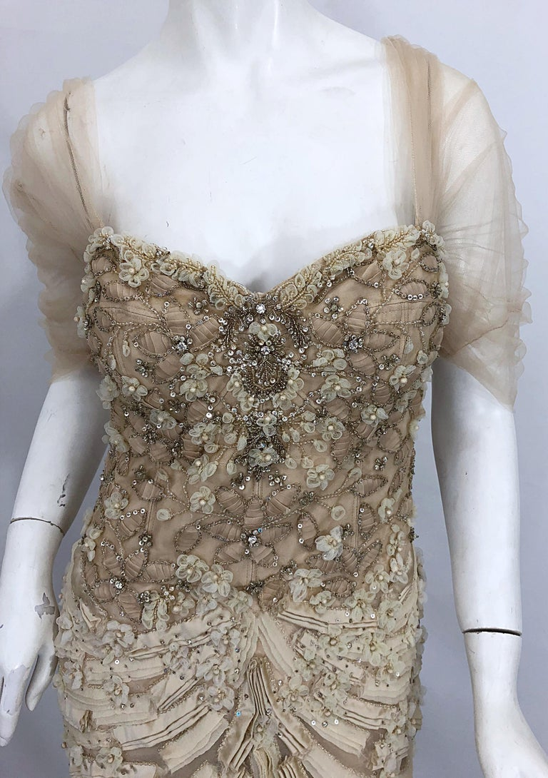 Monique Lhuillier Couture Size 10 / 12 Beige Rhinestone Beaded $12,000 Silk Gown For Sale 9