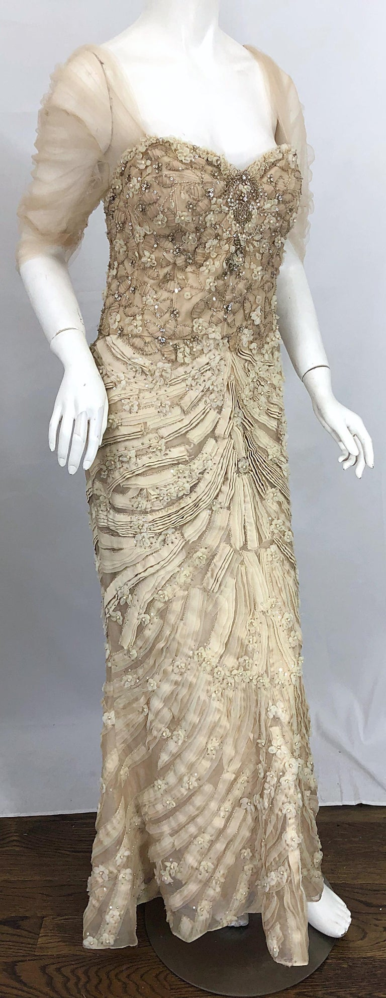 Monique Lhuillier Couture Size 10 / 12 Beige Rhinestone Beaded $12,000 Silk Gown For Sale 10