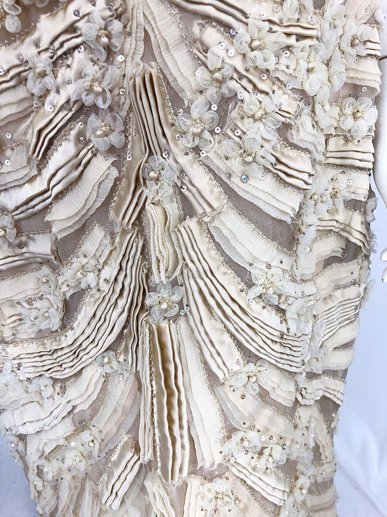 Monique Lhuillier Couture Size 10 / 12 Beige Rhinestone Beaded $12,000 Silk Gown For Sale 11