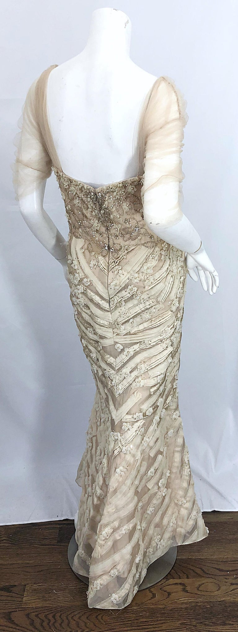 Monique Lhuillier Couture Size 10 / 12 Beige Rhinestone Beaded $12,000 Silk Gown For Sale 12